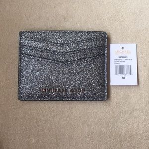 """Michael Kors Sparkly Card Holder In """"Dusty Blue"""""""